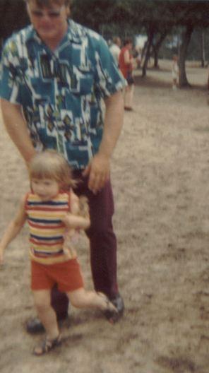 1973 - 07 - 14 Julie, Danny and Brad in Nisswa Deer Park - July 14, 1973, crop